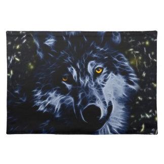 Lobo y estrellas manteles individuales