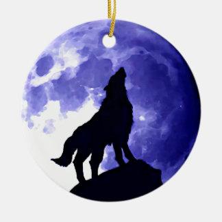 Lobo y Fullmoon del grito Adornos De Navidad