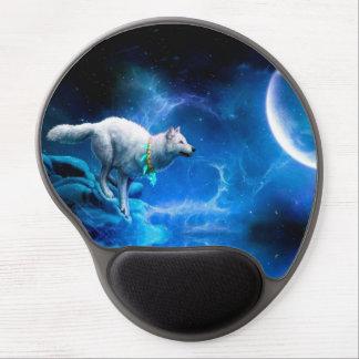 Lobo y luna alfombrillas de ratón con gel