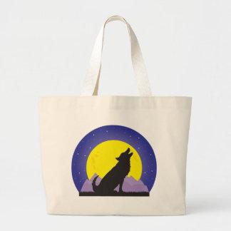 Lobo y luna bolsa lienzo
