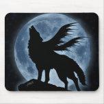 Lobo y luna (con las estrellas) Mousepad Tapetes De Raton