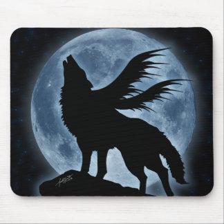 Lobo y luna con las estrellas Mousepad Tapetes De Raton
