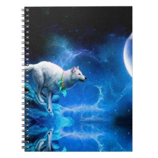 Lobo y luna libro de apuntes con espiral