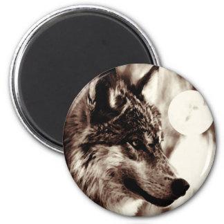 Lobo y luna de la sepia imán redondo 5 cm