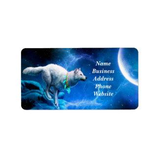 Lobo y luna etiquetas de dirección