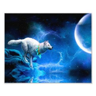 Lobo y luna cojinete