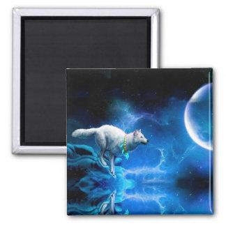 Lobo y luna imán cuadrado