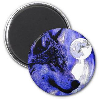 Lobo y luna imán de frigorifico