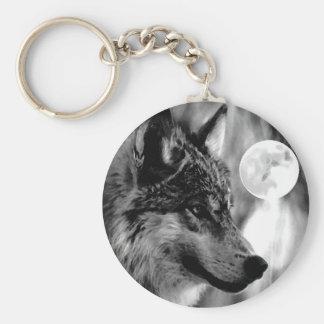 Lobo y luna llavero personalizado
