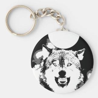 Lobo y luna llaveros
