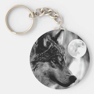 Lobo y luna llaveros personalizados