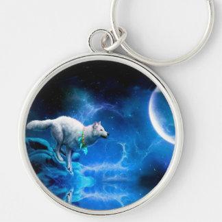 Lobo y luna llavero redondo plateado