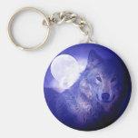 Lobo y luna llavero redondo tipo chapa