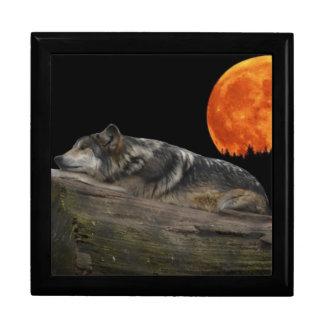 Lobo y luna mexicanos joyero cuadrado grande