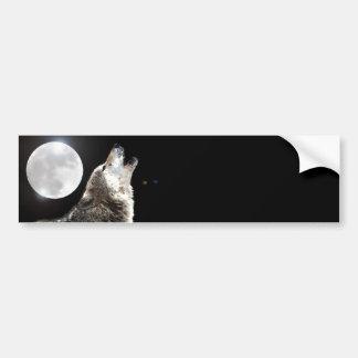 Lobo y luna pegatina para auto