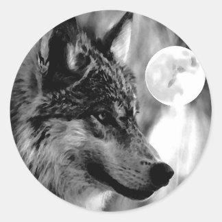 Lobo y luna pegatina redonda