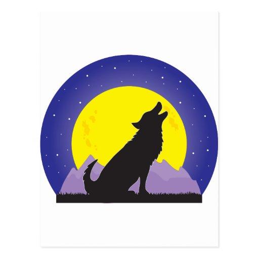 Lobo y luna postal