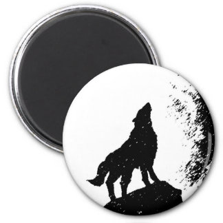 Lobo y luna Silhoutte Imán Redondo 5 Cm