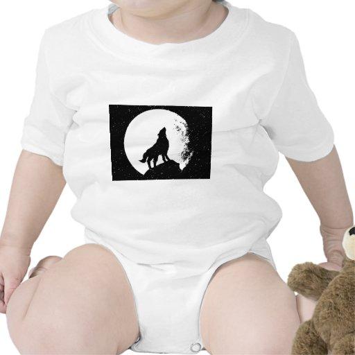 Lobo y luna Silhoutte Trajes De Bebé