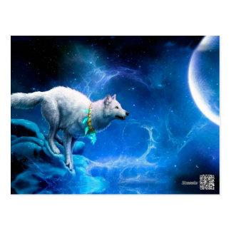 Lobo y luna tarjeta postal