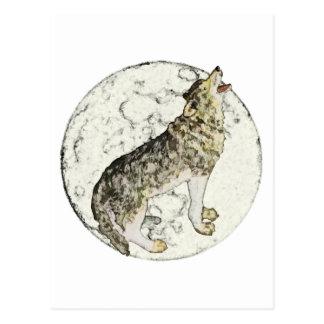 Lobo y luna postales