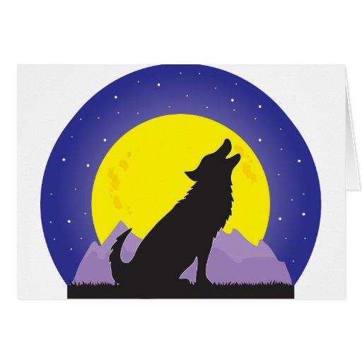 Lobo y luna tarjetas
