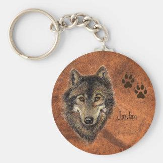 Lobo y pistas personalizados nombre de encargo llavero redondo tipo pin