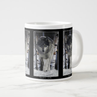 Lobo y taza enorme de la sopa o de café del bosque taza jumbo