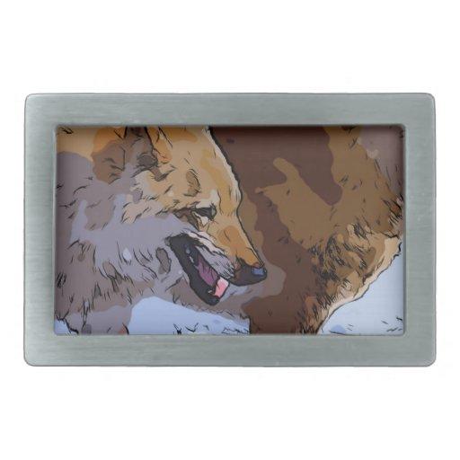 Lobos asombrosos hebilla de cinturon rectangular