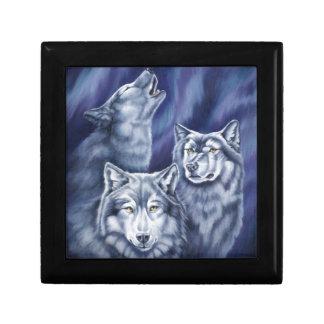 Lobos azules de la aurora joyero cuadrado pequeño