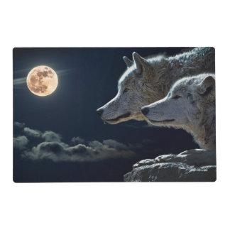 Lobos blancos en la Luna Llena Tapete Individual