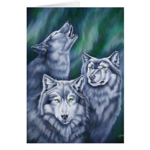 Lobos de la aurora del trullo tarjeta de felicitación