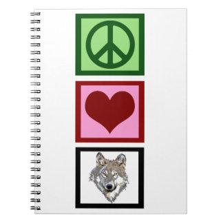 Lobos del amor de la paz notebook