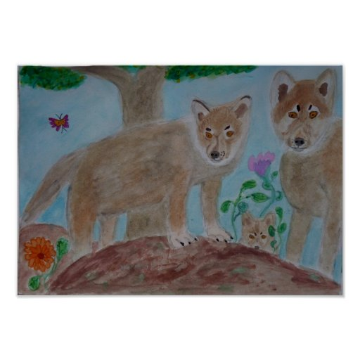 lobos del bebé poster