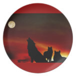 Lobos del grito rojos plato de cena