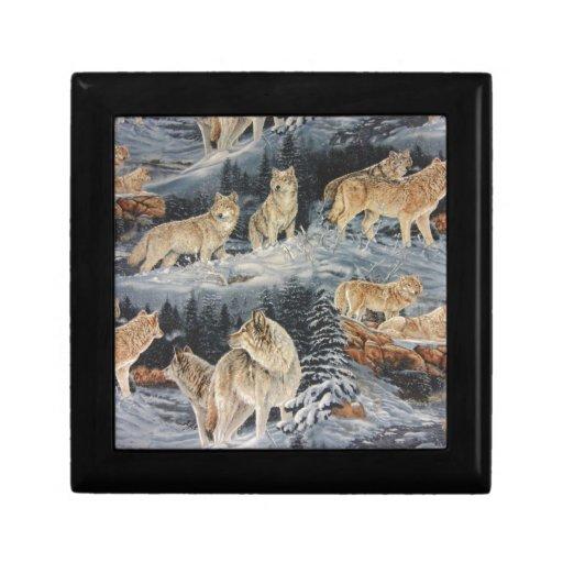 Lobos del invierno joyero cuadrado pequeño