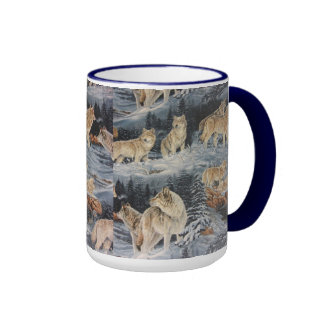 Lobos del invierno taza de dos colores