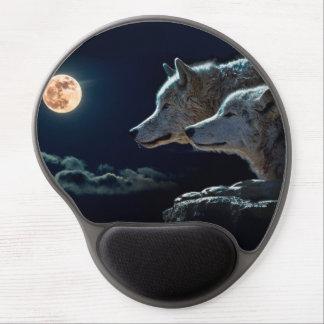 Lobos del lobo que gritan en la Luna Llena Alfombrilla Con Gel