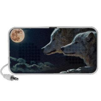 Lobos del lobo que gritan en la Luna Llena iPod Altavoz