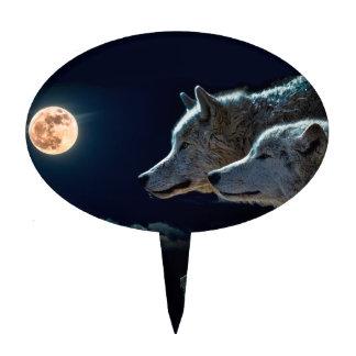 Lobos del lobo que gritan en la Luna Llena Decoración Para Tarta