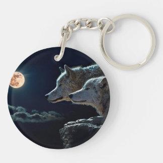 Lobos del lobo que gritan en la Luna Llena Llavero Redondo Acrílico A Doble Cara