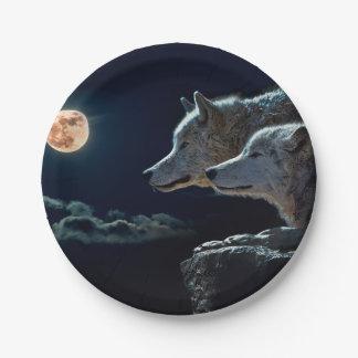 Lobos del lobo que gritan en la Luna Llena Plato De Papel De 7 Pulgadas