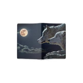 Lobos del lobo que gritan en la Luna Llena Porta Pasaportes