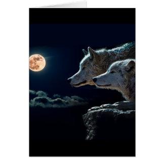 Lobos del lobo que gritan en la Luna Llena Tarjeta Pequeña