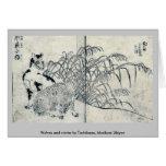 Lobos e invierno por Tachibana, Morikuni Ukiyoe Felicitacion