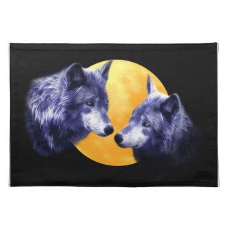 Lobos en la Luna Llena Manteles Individuales