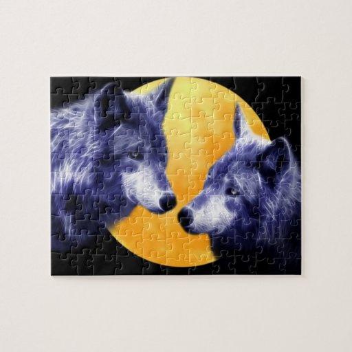 Lobos en la Luna Llena Puzzles