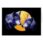 Lobos en la Luna Llena Tarjeta De Felicitación