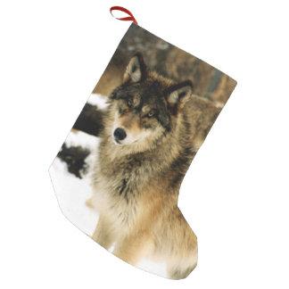 Lobos en la nieve calcetín de navidad pequeño