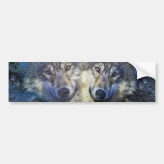 Lobos en la noche pegatina de parachoque